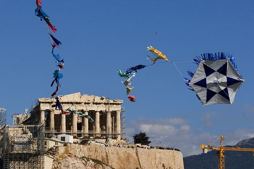 Clean Monday. Kites on Pnyx hill near Acropolis, Athens, Greece